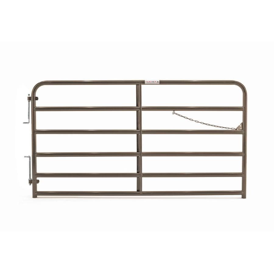 Tarter (Common: 4.33-ft x 8-ft; Actual: 4.33-ft x 7.75-ft) Brown Powder Coat Steel Farm Fence Gate