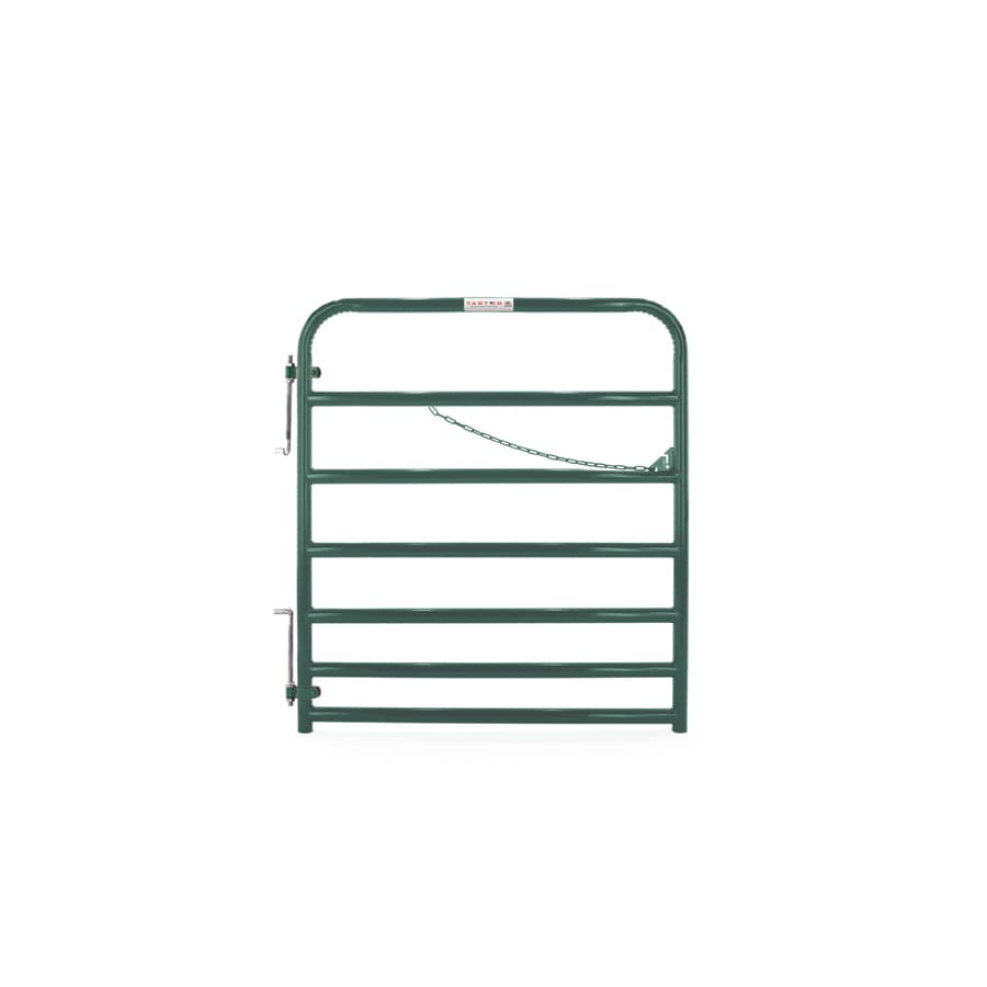 Tarter (Common: 4.16-ft x 4-ft; Actual: 4.16-ft x 3.75-ft) Green Powder Over E-Coat Steel Farm Fence Gate