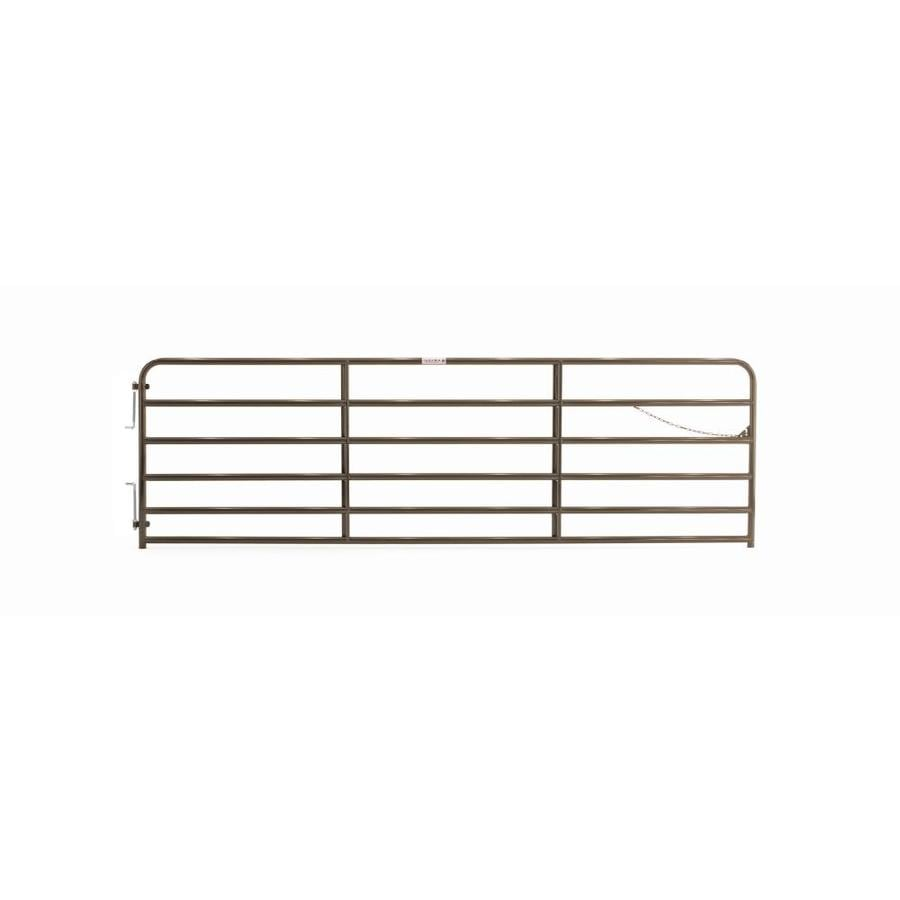 Tarter (Common: 4.16-ft x 14-ft; Actual: 4.16-ft x 13.75-ft) Brown Powder Coat Steel Farm Fence Gate