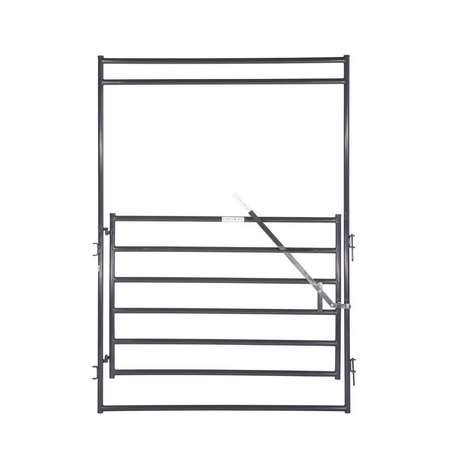 Tarter (Common: 9-ft x 6-ft; Actual: 9-ft x 6.54-ft) Gray Powder Over E-Coat Steel Farm Fence Walk-Thru Gate