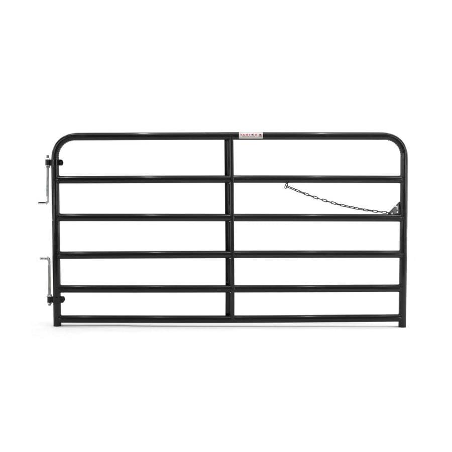 Tarter (Common: 4.33-ft x 8-ft; Actual: 4.33-ft x 7.75-ft) Black Powder Over E-Coat Steel Farm Fence Gate