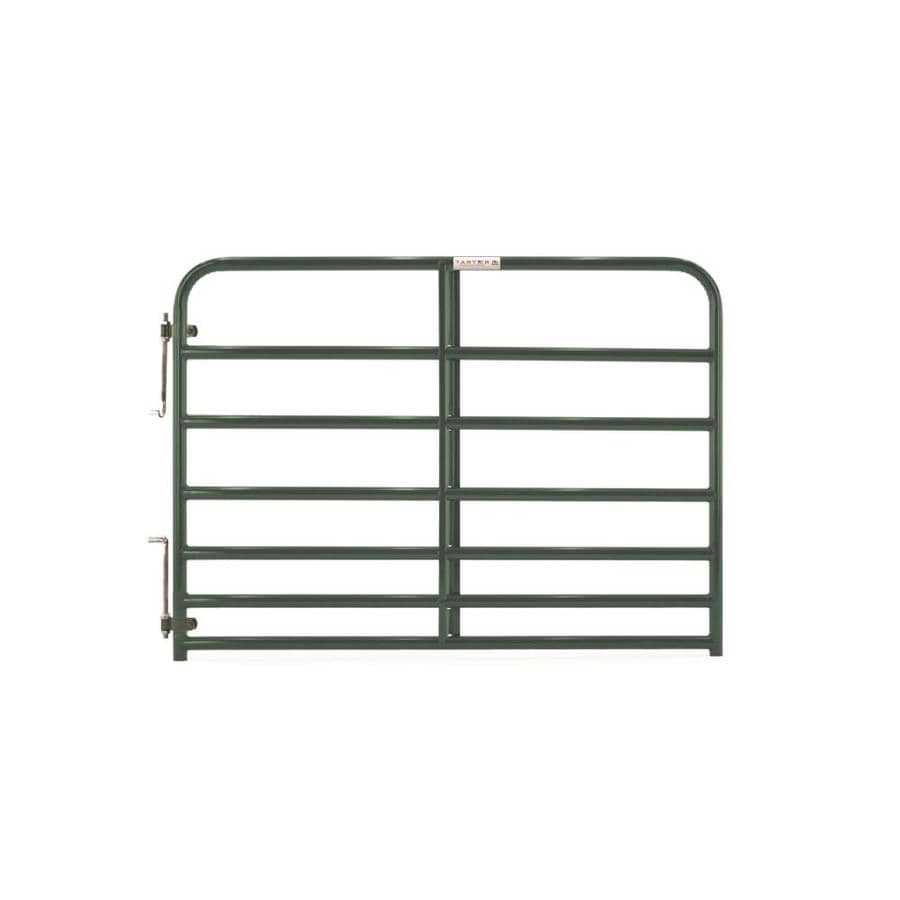 Tarter (Common: 4.16-ft x 6-ft; Actual: 4.16-ft x 5.75-ft) Green Powder Over E-Coat Steel Farm Fence Gate