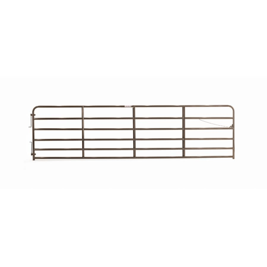 Tarter (Common: 4.33-ft x 16-ft; Actual: 4.33-ft x 15.75-ft) Brown Powder Coat Steel Farm Fence Gate