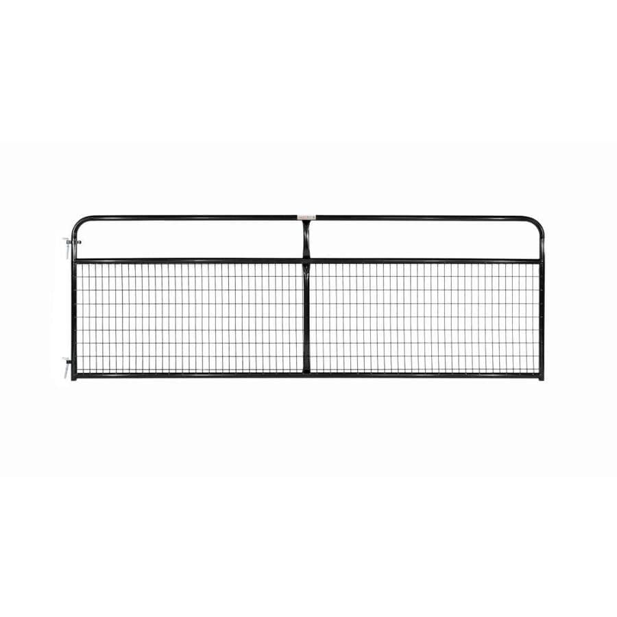 Tarter (Common: 4.16-ft x 12-ft; Actual: 4.16-ft x 11.75-ft) Black Powder Over E-Coat Steel Farm Fence Gate