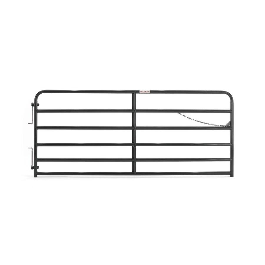 Tarter (Common: 4.33-ft x 10-ft; Actual: 4.33-ft x 9.75-ft) Black Powder Over E-Coat Steel Farm Fence Gate