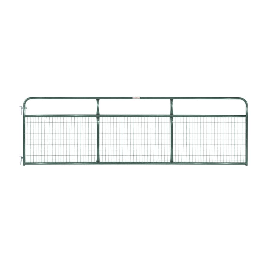 Tarter (Common: 4.16-ft x 14-ft; Actual: 4.16-ft x 13.75-ft) Green Powder Over E-Coat Steel Farm Fence Gate