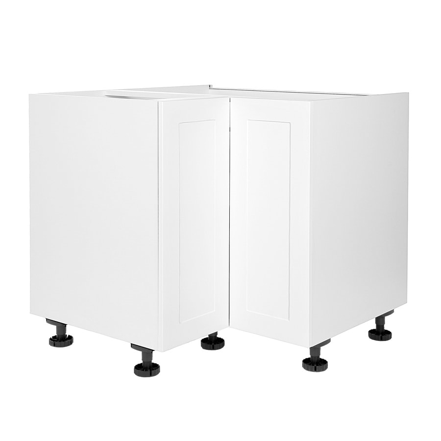 Cambridge 36 In W X 34 5 In H X 24 In D Shaker White Wood Engineered Wood Lazy Susan Corner Base Stock Cabinet In The Stock Kitchen Cabinets Department At Lowes Com