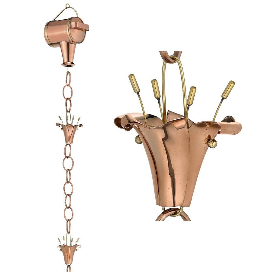 Good Directions 8.5-ft Copper Watering Can with Flowers Rain Chains