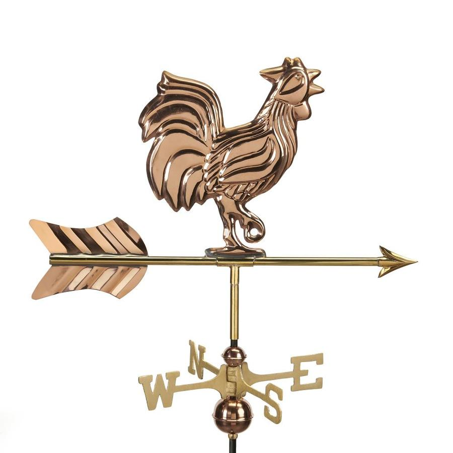 Good Directions Polished Copper Rooster Weathervane
