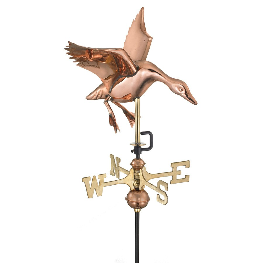 Good Directions Polished Copper Roof-mount Landing Duck Weathervane