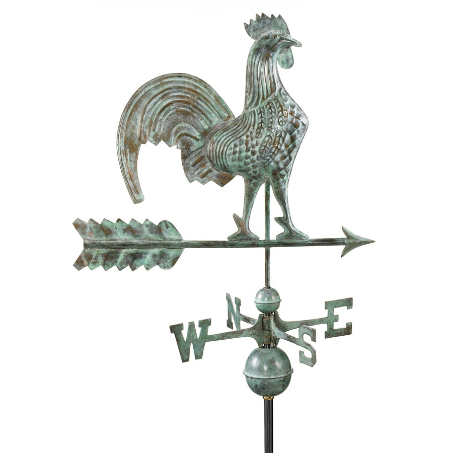 Blue Verde Copper Roof-Mount 25-in Rooster Weathervane