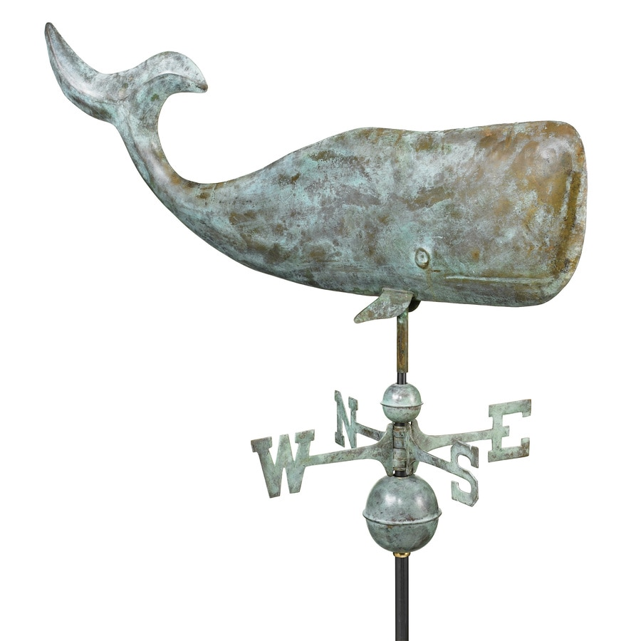 Blue Verde Copper Roof-Mount 37-in Whale Weathervane