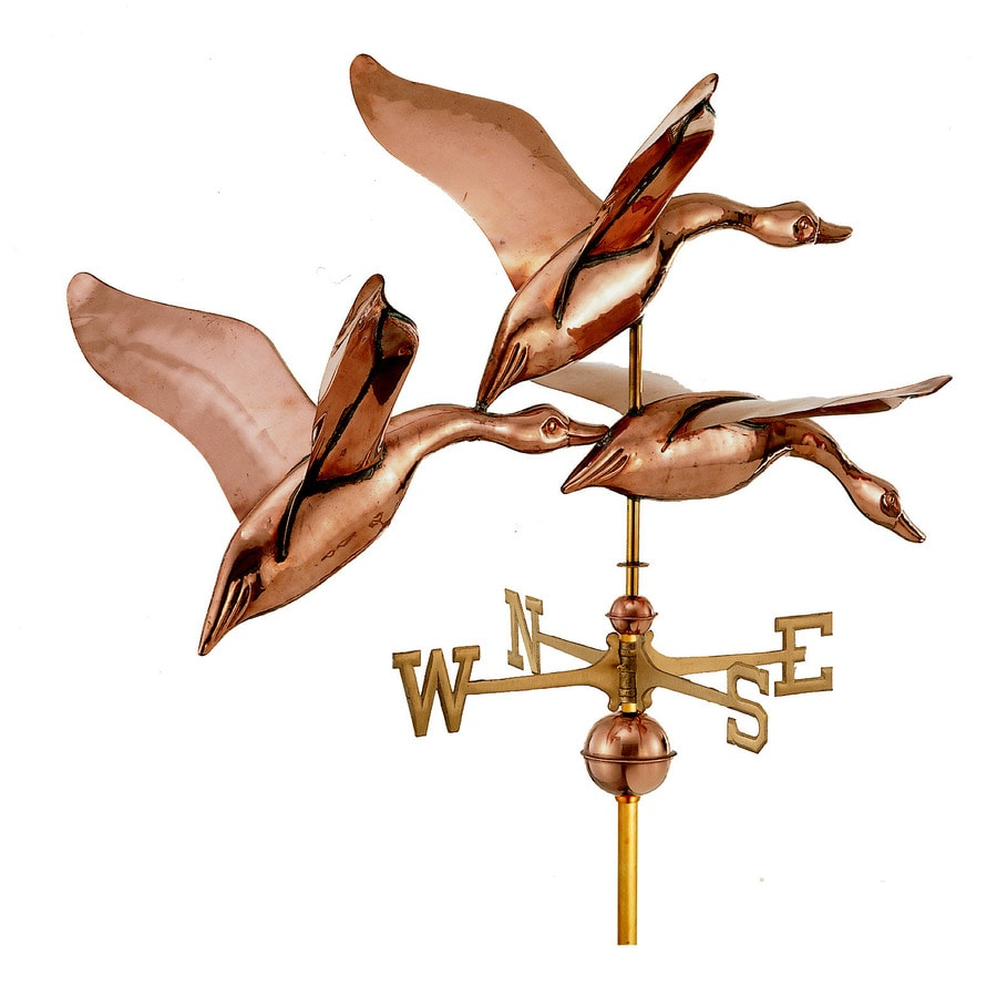 Polished Copper Roof-Mount 42-in 3 Geese In-Flight Weathervane
