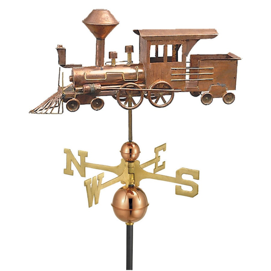Good Directions Polished Copper Locomotive Weathervane