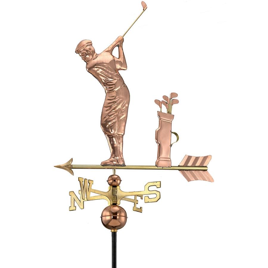 Good Directions Polished Copper Golfer Weathervane