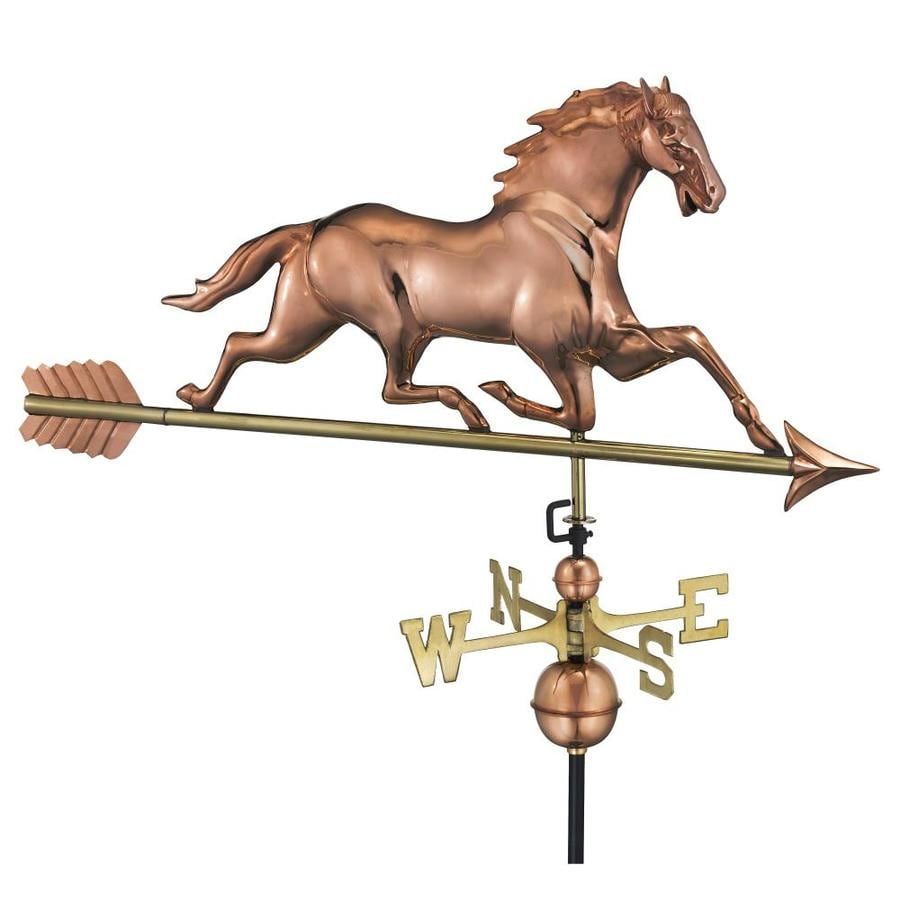 Good Directions Polished Copper Horse with Arrow Weathervane