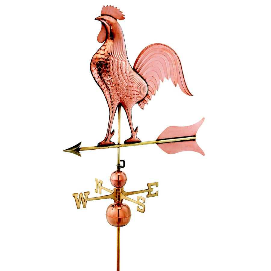 Polished Copper Roof-Mount Barn Rooster Weathervane