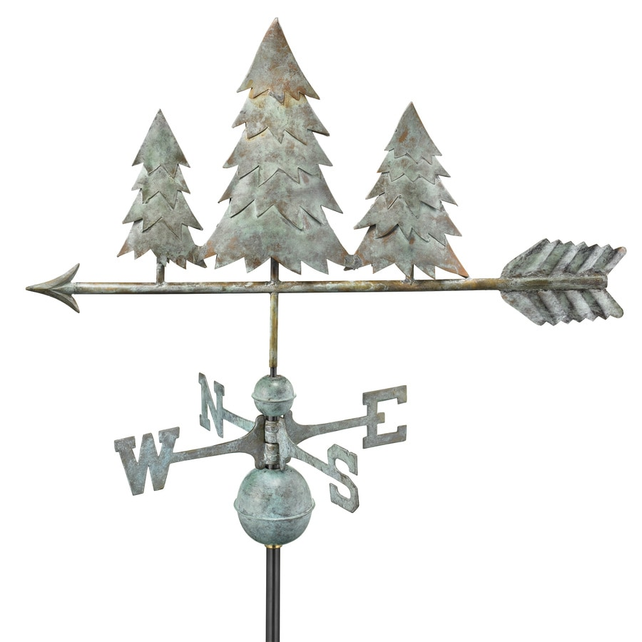 Good Directions Blue Verde Copper Roof-mount Pine Trees Weathervane