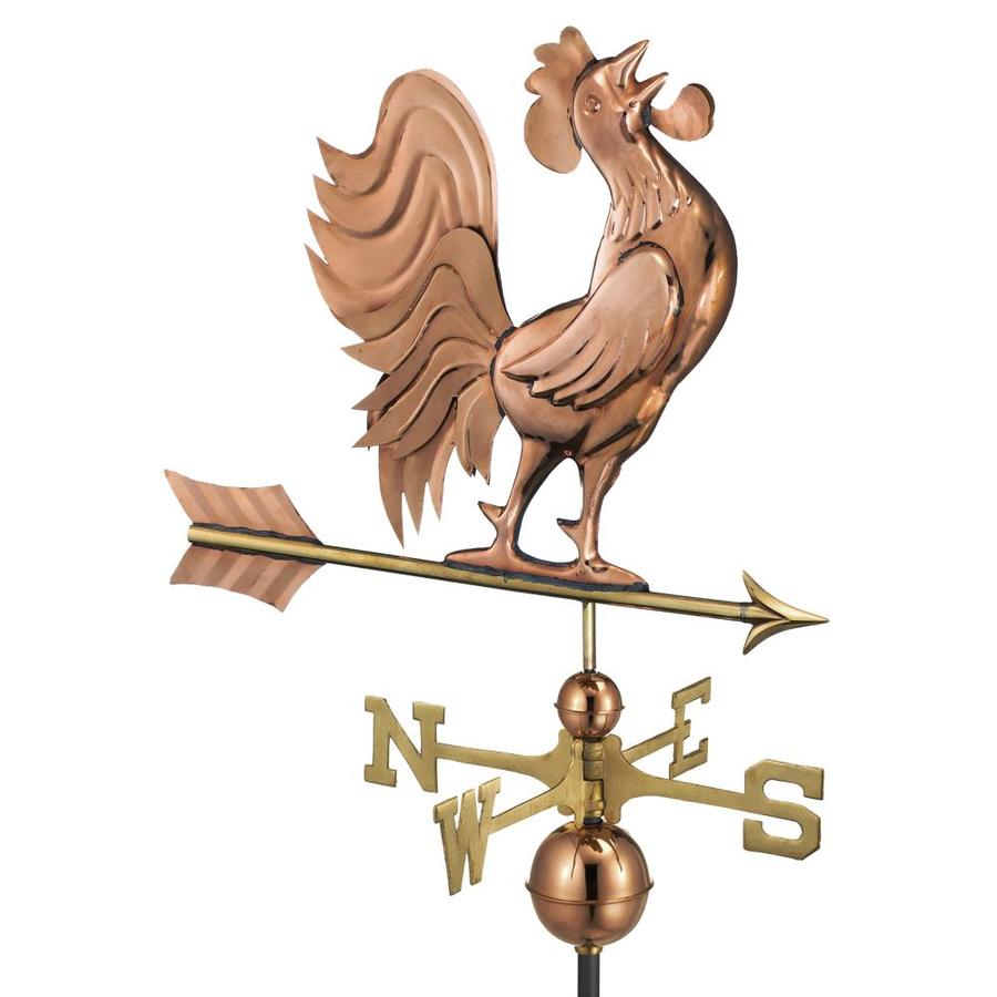 Good Directions Polished Copper Crowing Rooster Weathervane