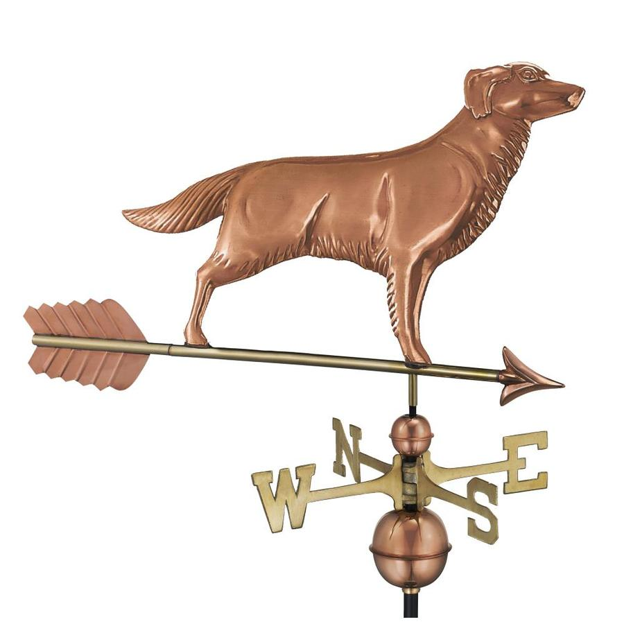 Good Directions Polished Copper Roof-mount Golden Retriever Weathervane