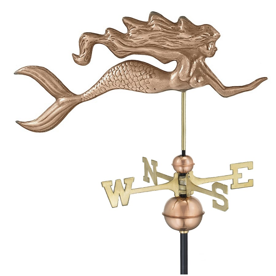 Good Directions Polished Copper Mermaid Weathervane