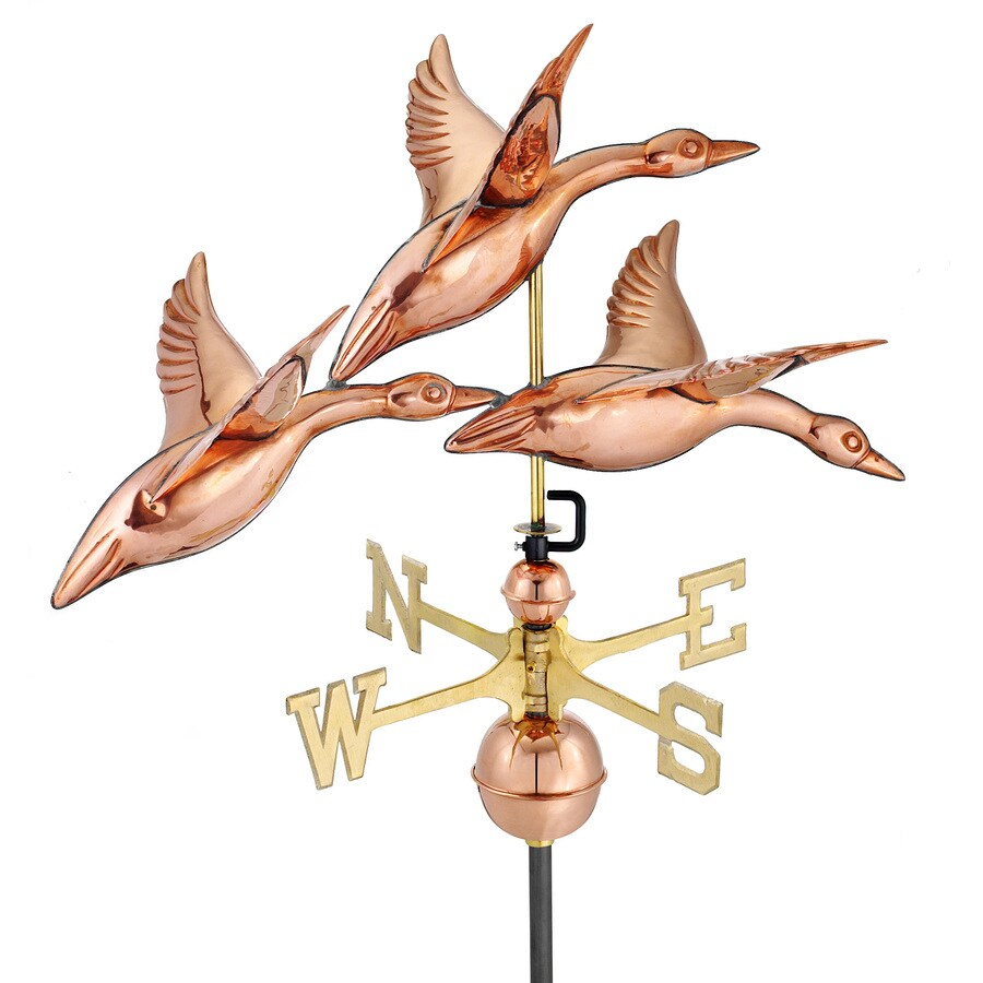Good Directions Polished Copper Roof-mount 28 in. 3 Geese in Flight Weathervane