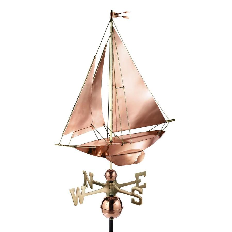Good Directions Polished Copper Racing Sloop Weathervane