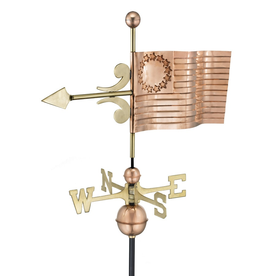 Good Directions Polished Copper Us Flag Weathervane