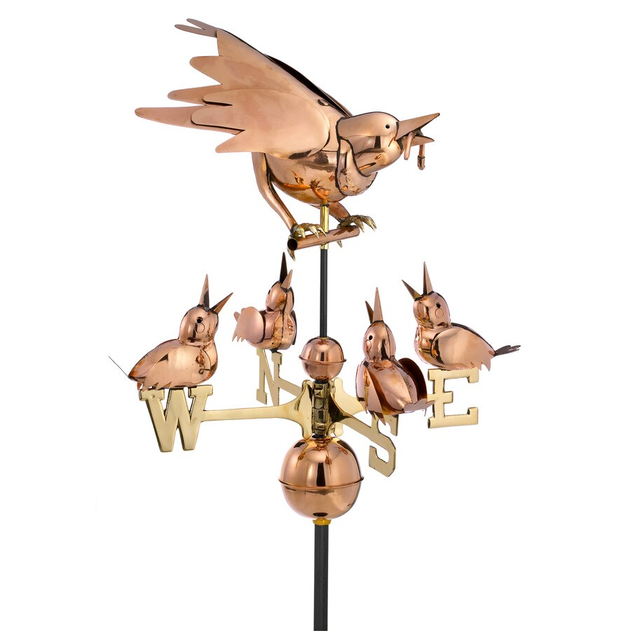 Good Directions Polished Copper Mother Bird & Chicks Weathervane