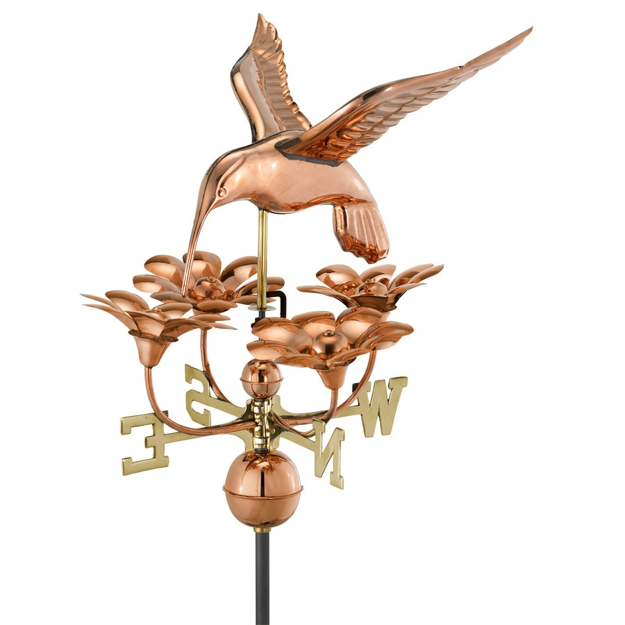 Good Directions Polished Copper Roof-mount Hummingbird with Flowers Weathervane