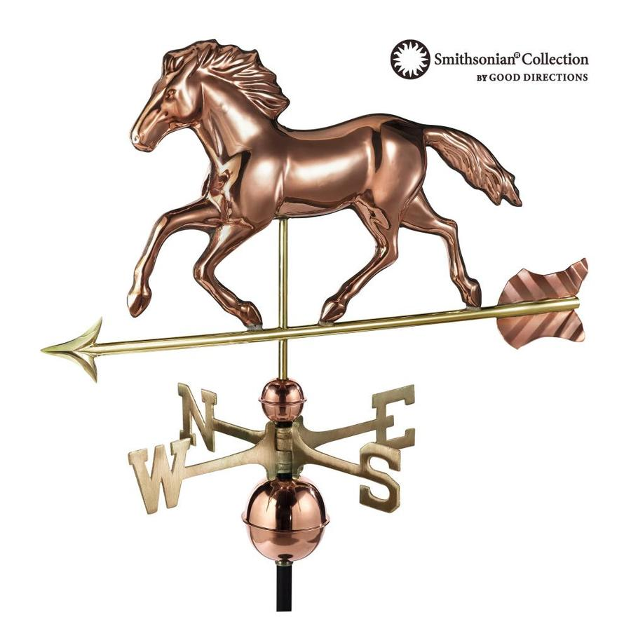 Good Directions Polished Copper Roof-mount Smithsonian Running Horse Weathervane