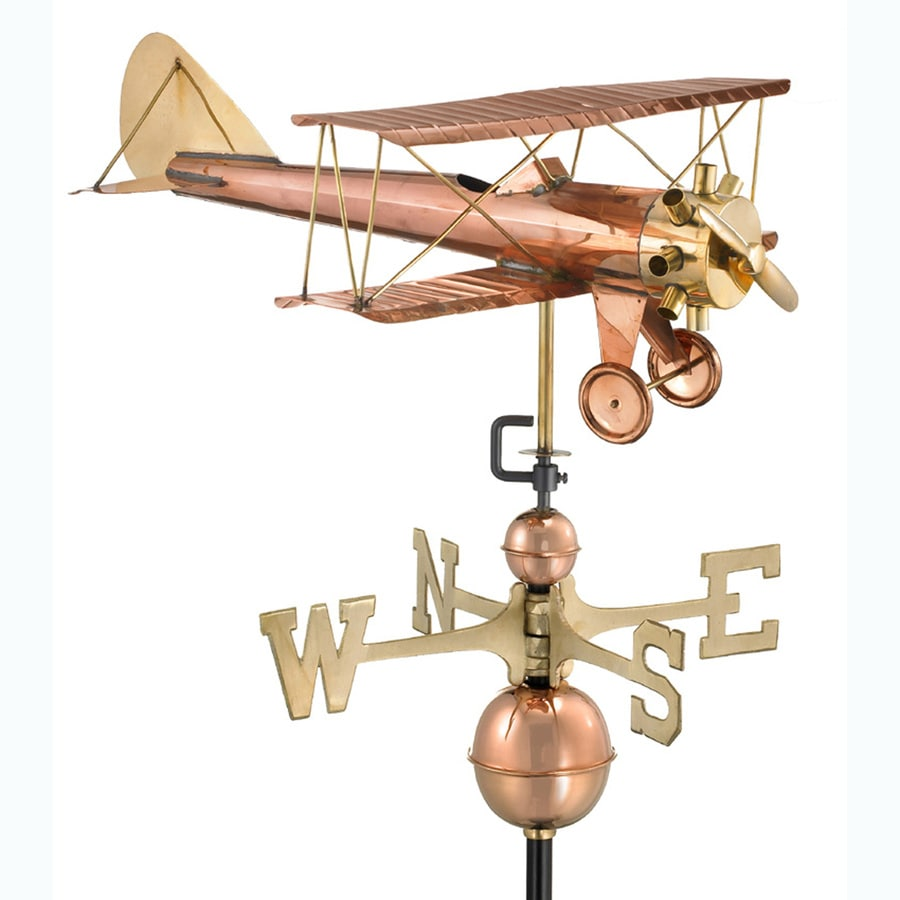 Good Directions Polished Copper Biplane Weathervane