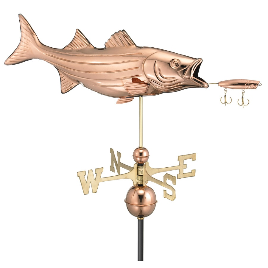 Good Directions Polished Copper Bass with Lure Weathervane