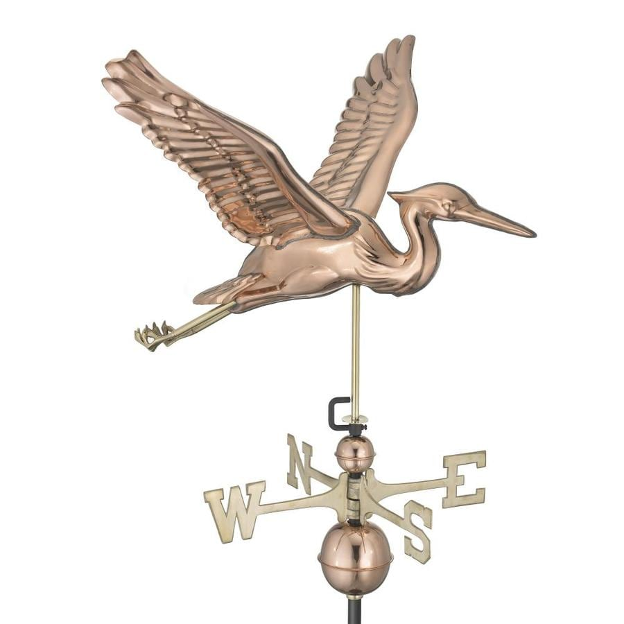 Good Directions Polished Copper Roof-mount Blue Heron Weathervane