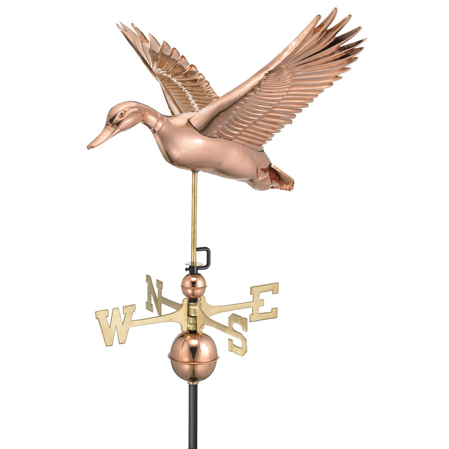 Good Directions Polished Copper Roof-mount Flying Duck Weathervane