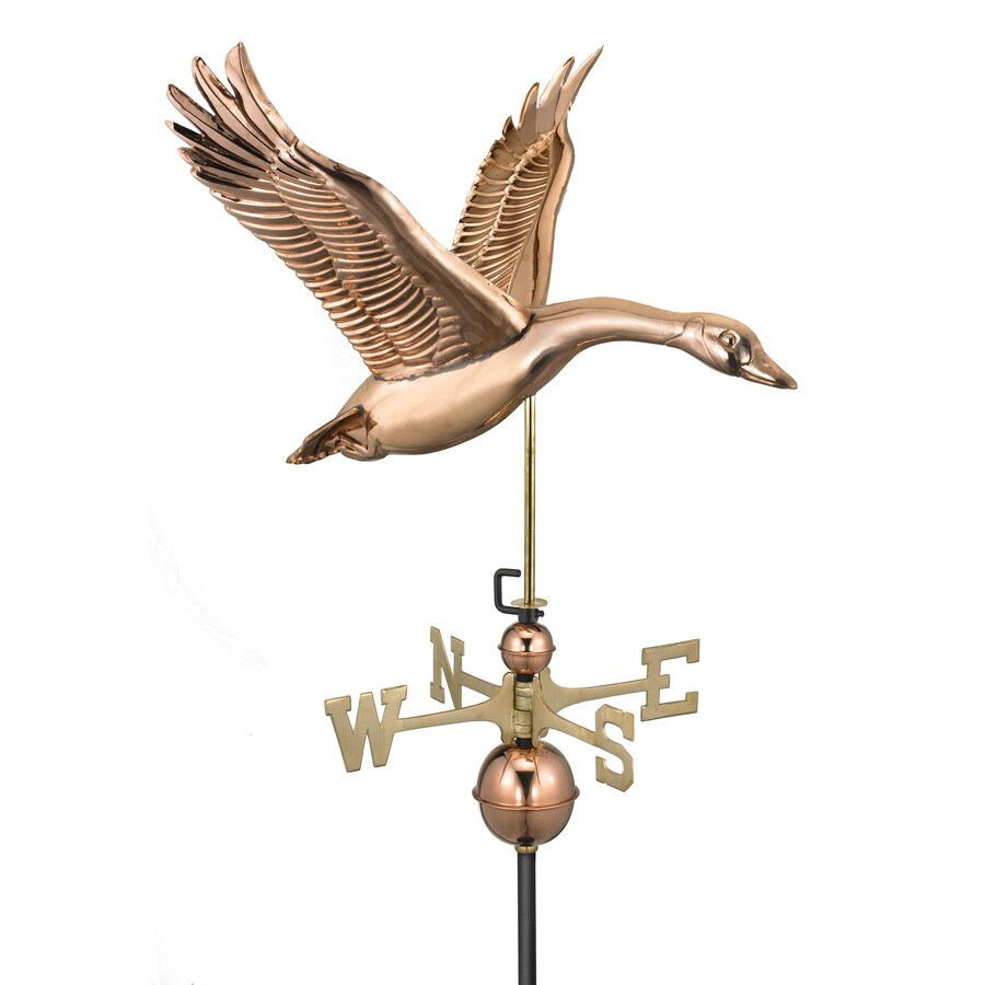 Good Directions Polished Copper Feathered Goose Weathervane