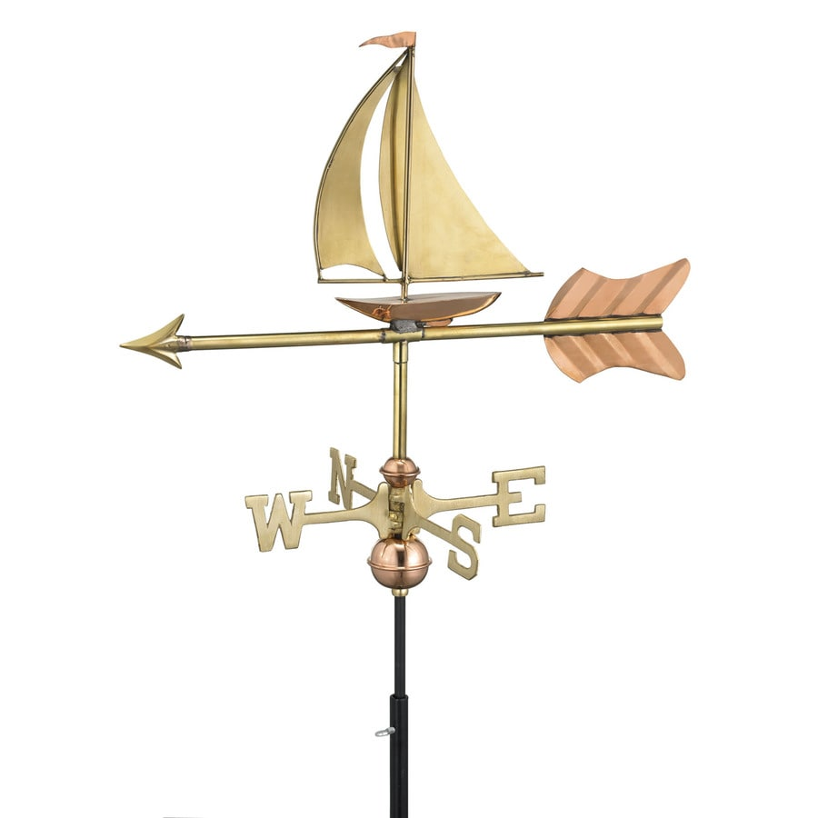 Good Directions Polished Copper Freestanding Sailboat Weathervane