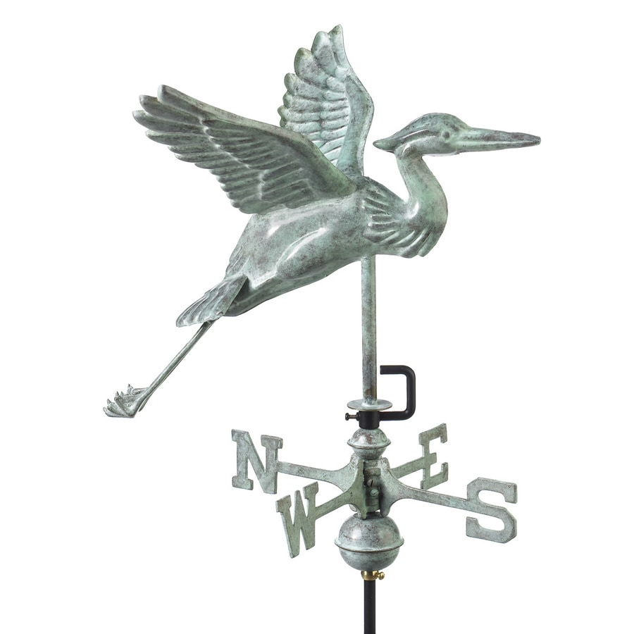 Good Directions Blue Verde Copper Roof-mount Blue Heron Weathervane