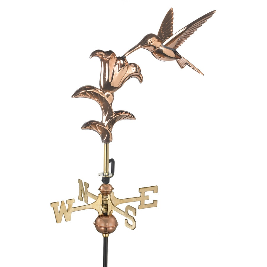 Good Directions Polished Copper Freestanding Hummingbird with Flowers Weathervane