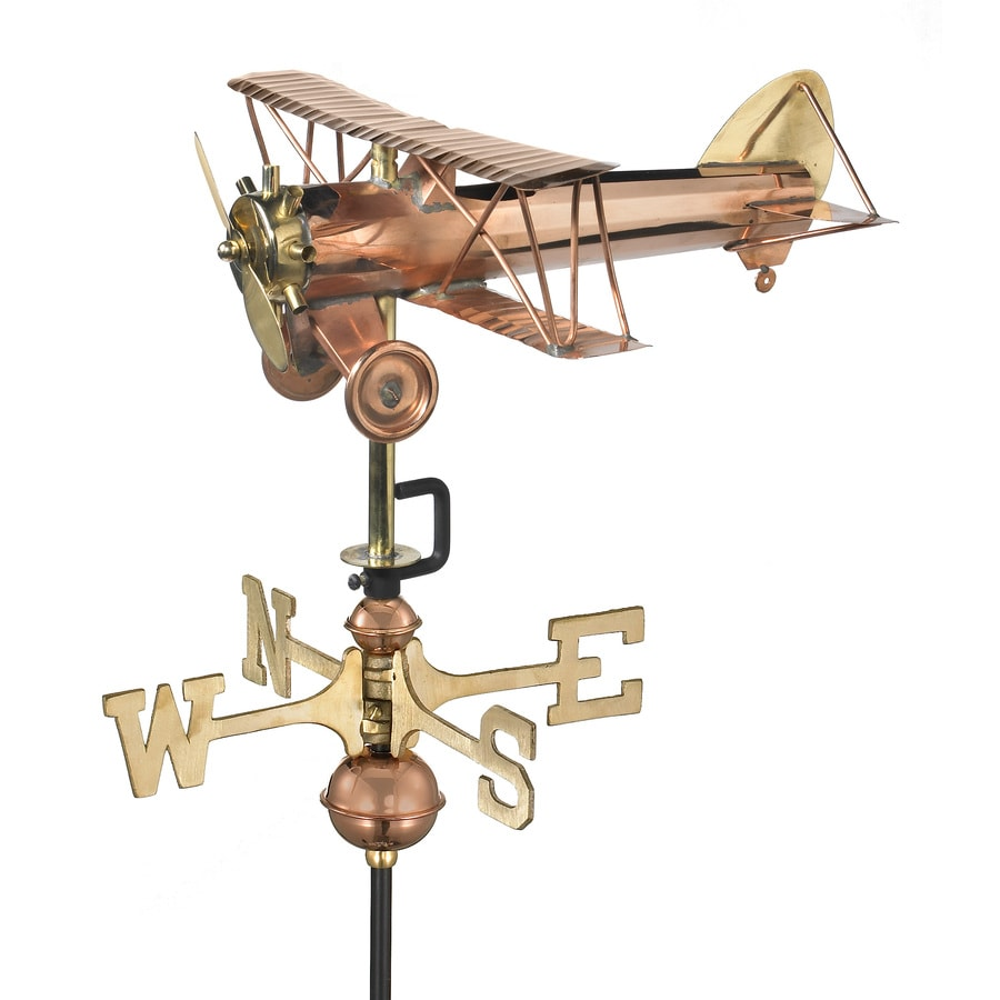 Good Directions Polished Copper Freestanding Biplane Weathervane