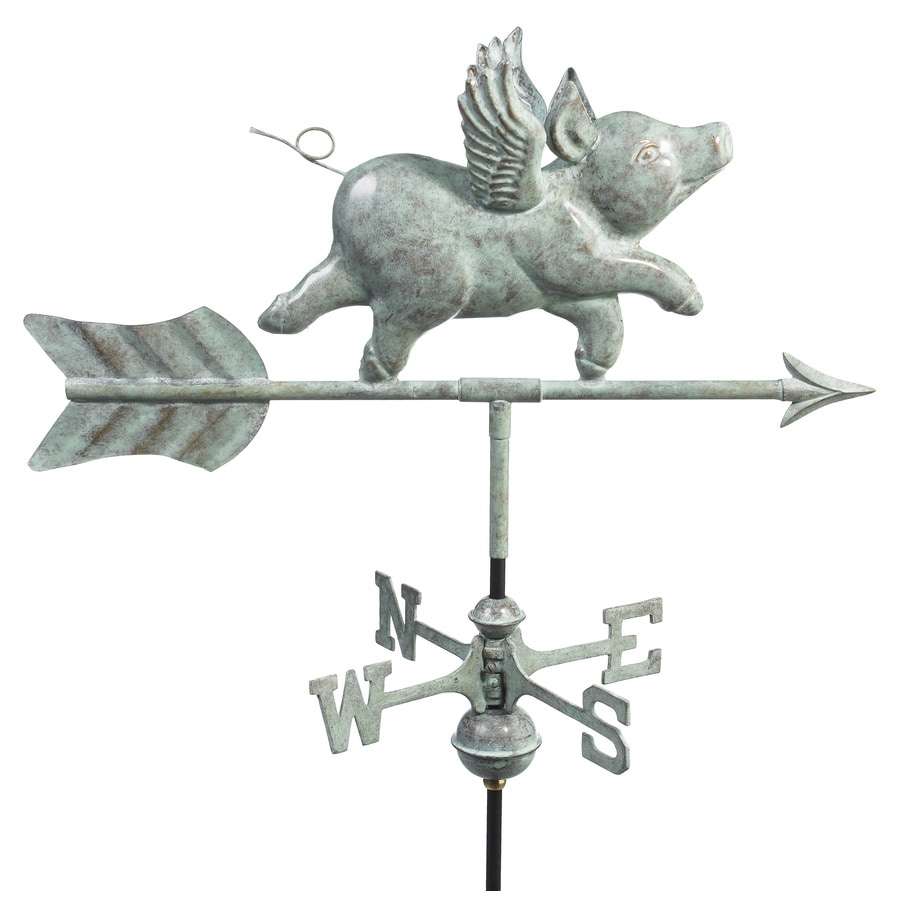 Good Directions Blue Verde Copper Flying Pig Weathervane