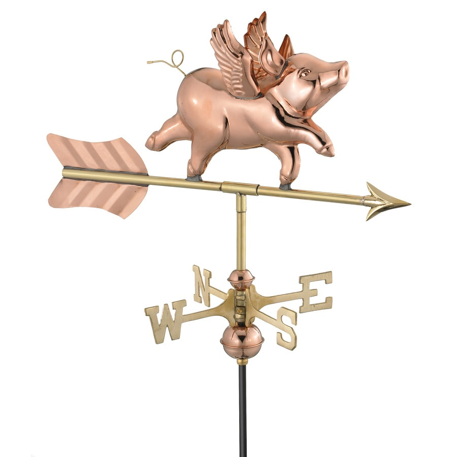 Good Directions Polished Copper Flying Pig Weathervane
