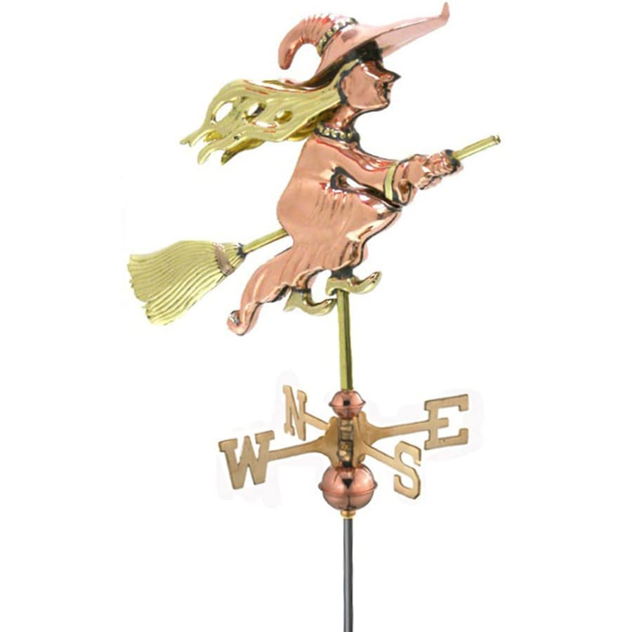 Good Directions Polished Copper Witch Weathervane