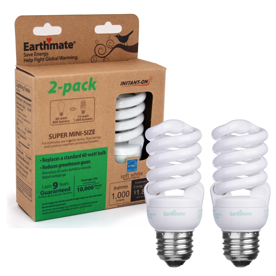 Earthmate 2-Pack 15-Watt (60W) Spiral Medium Base Soft White (2700K) CFL Bulbs ENERGY STAR
