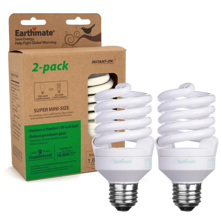 Earthmate 2-Pack 23-Watt (100W) Spiral Medium Base Soft White (2700K) CFL Bulbs ENERGY STAR