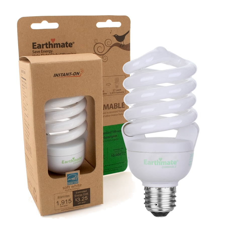 Earthmate 27-Watt (100W) Spiral Medium Base Soft White (2700K) CFL Bulb ENERGY STAR