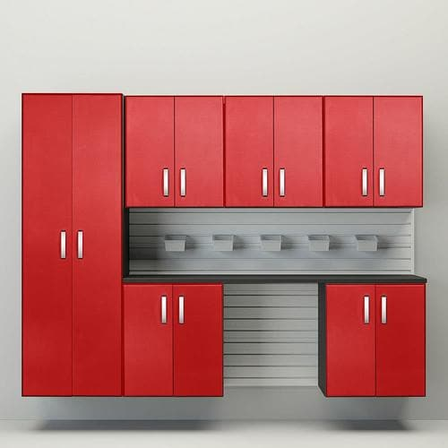 Flow Wall 7 pc. Cabinet Storage Set 96-in W x 72-in H Red