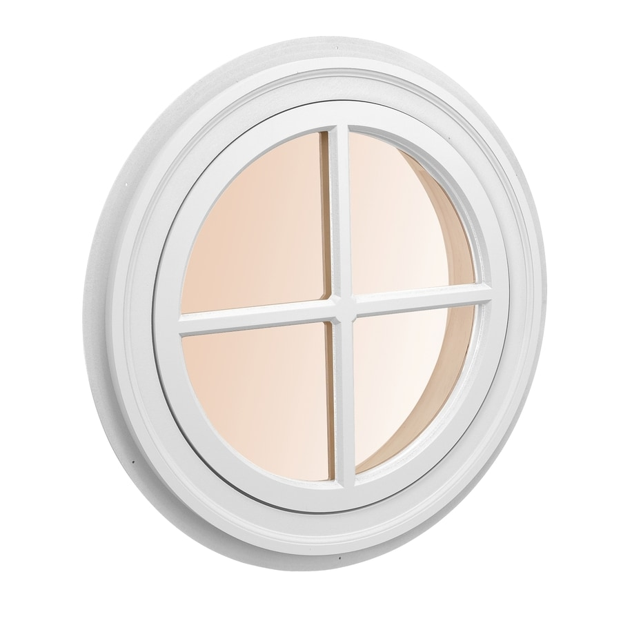 Shop awsco round replacement white exterior window rough opening 34 in x 34 in actual 36 in for Round exterior window