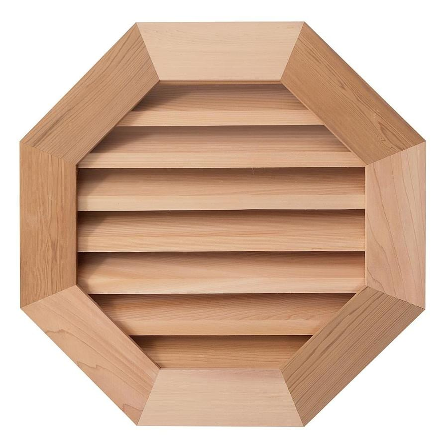 AWSCO 26-in x 26-in Raw Redwood Octagon Wood Gable Vent