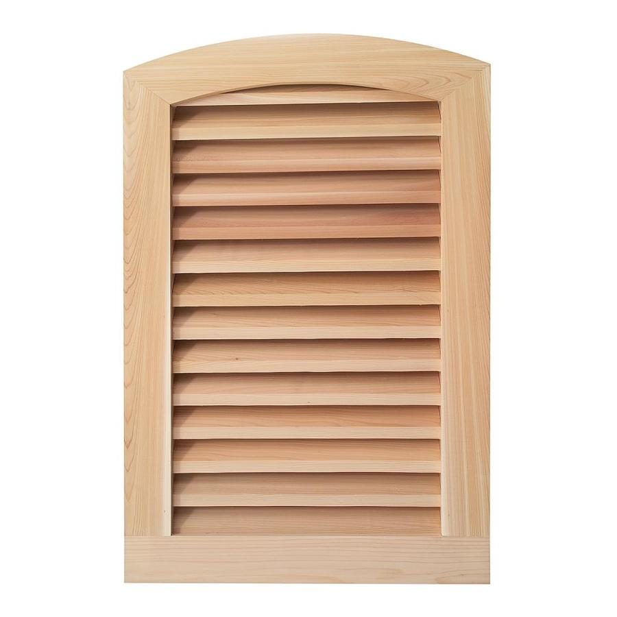 AWSCO 11.5-in x 23.5-in Raw Redwood Round Top Gable Vent